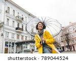 optimistic woman in yellow...   Shutterstock . vector #789044524