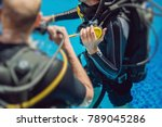 diving instructor and students. ... | Shutterstock . vector #789045286