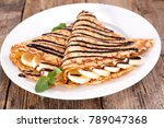 crepe with chocolate and banana | Shutterstock . vector #789047368