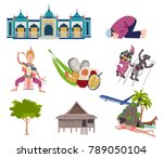 thailand travel elements with... | Shutterstock .eps vector #789050104