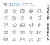 collection of social media thin ... | Shutterstock .eps vector #789050218