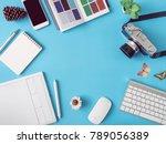 top view office desk workspace... | Shutterstock . vector #789056389