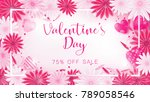 valentine floral invitation is... | Shutterstock .eps vector #789058546