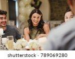 wedding guests are socialising... | Shutterstock . vector #789069280