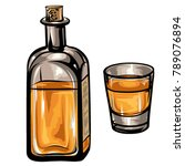 old whiskey bottle and a glass...   Shutterstock .eps vector #789076894