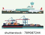 cargo logistics transportation  ... | Shutterstock .eps vector #789087244