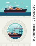 ship porthole window view... | Shutterstock .eps vector #789087250