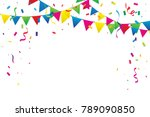 colorful party flags with... | Shutterstock .eps vector #789090850