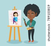 young african woman painting a... | Shutterstock .eps vector #789103819