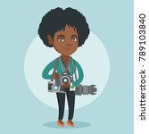 young african american... | Shutterstock .eps vector #789103840