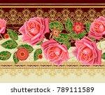 seamless pattern. golden... | Shutterstock . vector #789111589