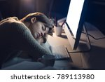 tired young woman sleeping on... | Shutterstock . vector #789113980