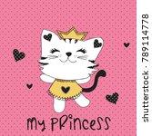 my princess cat vector... | Shutterstock .eps vector #789114778