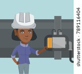 young african operator of oil... | Shutterstock .eps vector #789116404