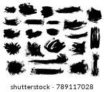 set of black vector bushy brush ...   Shutterstock .eps vector #789117028