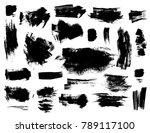 set of black vector brush... | Shutterstock .eps vector #789117100