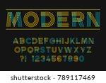 geometric neon font linear... | Shutterstock .eps vector #789117469