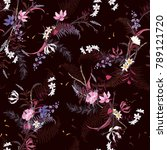 blooming floral pattern in the ... | Shutterstock .eps vector #789121720