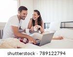 beautiful couple spending time... | Shutterstock . vector #789122794
