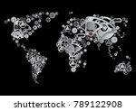 a world map made of gears.... | Shutterstock .eps vector #789122908