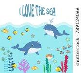 funny marine animals under the...   Shutterstock .eps vector #789124066