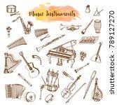 music instruments  hand drawn... | Shutterstock .eps vector #789127270