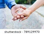 bride and groom hands holding... | Shutterstock . vector #789129970