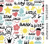 seamless baby pattern with... | Shutterstock .eps vector #789133459