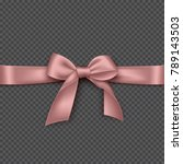 realistic pink bow and ribbon.... | Shutterstock .eps vector #789143503