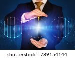businessman with dna concept in ... | Shutterstock . vector #789154144