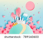tokyo japan city in spring with ... | Shutterstock .eps vector #789160603