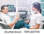 portrait of a female dentist... | Shutterstock . vector #789160744