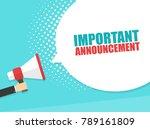 male hand holding megaphone... | Shutterstock .eps vector #789161809
