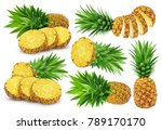 pineapple collection. whole and ... | Shutterstock . vector #789170170