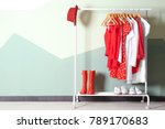 collection of clothes hanging... | Shutterstock . vector #789170683