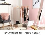 collection of clothes hanging... | Shutterstock . vector #789171514