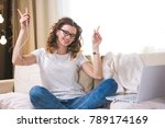 beautiful young woman at home... | Shutterstock . vector #789174169