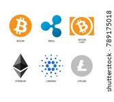 crypto currency bitcoin cardano ... | Shutterstock .eps vector #789175018