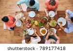 thanksgiving day  eating and... | Shutterstock . vector #789177418