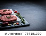 raw cutlet of minced meat with... | Shutterstock . vector #789181330