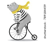 cute bear with bicycle.circus... | Shutterstock .eps vector #789184459