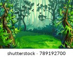 Stock vector a glade in the woods among trees and firs vector background 789192700