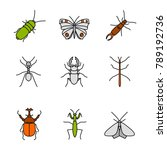 insects color icons set.... | Shutterstock . vector #789192736