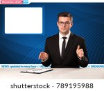 television reporter telling... | Shutterstock . vector #789195988