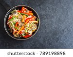 stir fry with udon noodles ... | Shutterstock . vector #789198898
