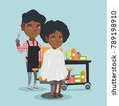 african american hairdresser... | Shutterstock .eps vector #789198910