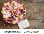 glazed heart shaped cookies for ... | Shutterstock . vector #789199024