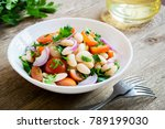 white bean salad with cherry... | Shutterstock . vector #789199030