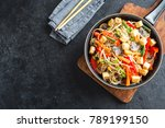 stir fry with udon noodles ... | Shutterstock . vector #789199150