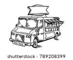 vintage retro street food truck ... | Shutterstock .eps vector #789208399